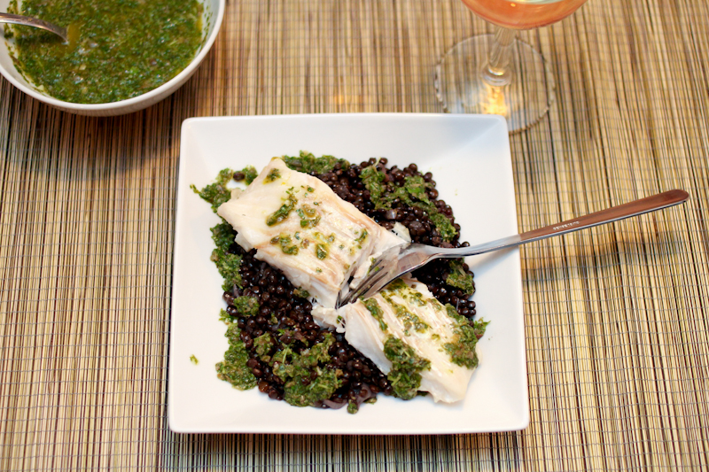 Cod and salsa verde